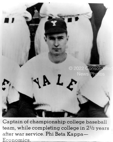 New Haven, Connecticut - Undated file photo -- Future United States President George H.W. Bush as captain of the Yale University  varsity baseball team.  He pursued a degree in economics and graduated Phi Beta Kappa in 1948. .Credit: White House via CNP