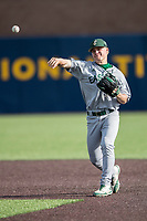 Eastern Michigan Eagles second baseman Drake Peggs (5) makes a throw to first base during the NCAA baseball game against the Michigan Wolverines on May 16, 2017 at Ray Fisher Stadium in Ann Arbor, Michigan. Michigan defeated Eastern Michigan 12-4. (Andrew Woolley/Four Seam Images)