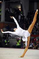 November 9, 2008; Durango, Spain (near Bilbao); Rhythmic gymnast Anna Bessonova of Ukraine performs handsfree gala in white chiffon at 2008 Euskalgym International.  Anna won bronze at Beijing 2008 Olympics...Photo note: Her music CD didn't play and Anna performed impromptu to new music.  Her fans were very happy!.