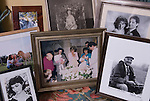 Rosa Monckton friend of the late Diana the Princess of Wales at home. Dallington,  East Sussex. England 2007 Table in living room with portrait of Lady Diana at a daughter christening .