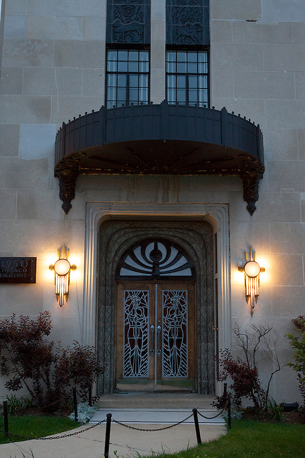 The Powhatan, or Powhatan Apartments, a 22-story, luxury, Art Deco apartment building overlooking Lake Michigan and adjacent to Burnham Park in the Kenwood neighborhood of Chicago, Illinois, USA