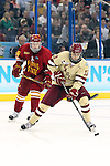 07 APR 2012:  Johnny Gaudreau (13) of Boston College eludes defenders on his way to a goal against Ferris State University during the Division I Men's Ice Hockey Championship held at the Tampa Bay Times Forum in Tampa, FL.  Boston College defeated Ferris State 4-1 to win the national title.  Matt Marriott/NCAA Photos