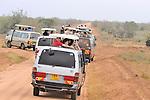 Safari vehicles line up on news of lion citings in Tsavo  East National Park, Kenya