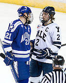 Jacques Lamoureux (Air Force - 21), Jimmy Martin (Yale - 2) - The Yale University Bulldogs defeated the Air Force Academy Falcons 2-1 (OT) in their East Regional Semi-Final matchup on Friday, March 25, 2011, at Webster Bank Arena at Harbor Yard in Bridgeport, Connecticut.