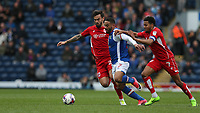Blackburn Rovers' Liam Feeney battles with Bristol City's Marlon Pack and Korey Smith<br /> <br /> Photographer Stephen White/CameraSport<br /> <br /> The EFL Sky Bet Championship - Blackburn Rovers v Bristol City - Monday 17th April 2017 - Ewood Park - Blackburn<br /> <br /> World Copyright &copy; 2017 CameraSport. All rights reserved. 43 Linden Ave. Countesthorpe. Leicester. England. LE8 5PG - Tel: +44 (0) 116 277 4147 - admin@camerasport.com - www.camerasport.com