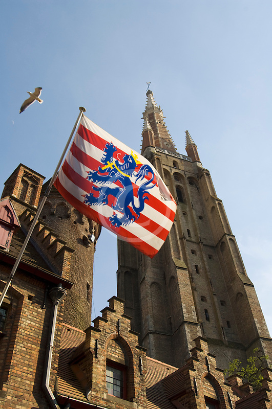 Belgium, Bruges, Church of Our Lady, Onze-Lieve-Vrouwekerk and Municipal flag of Bruges