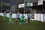 Bacup Borough 4 Holker Old Boys 1, 25/04/2016. Brain Boys West View Stadium, NorthWest Counties League Division One. First-half action at the Brain Boys West View Stadium as Bacup Borough (in black) play Holker Old Boys in a NorthWest Counties League division one fixture. Formed as Bacup in 1879, the club moved into their current home in 1889 and have been known as Bacup Borough since the 1920s, apart from a brief recent spell when they added the name Rossendale to their name. With both teams challenging for play-off places, Bacup Borough won this fixture by 4-1, watched by a crowd of 50. Photo by Colin McPherson.