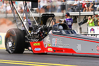 Mar 13, 2015; Gainesville, FL, USA; NHRA top fuel driver Shawn Reed during qualifying for the Gatornationals at Auto Plus Raceway at Gainesville. Mandatory Credit: Mark J. Rebilas-