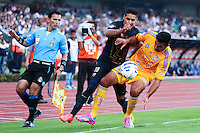 Pumas player Ismael Sosa (18) fights for the ball against Tigres player José Rivas (24) during their match between Pumas VS Tigres both teams were tied at two goals. Photo by Miguel Angel Pantaleon/VIEWpress