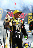 Sep 5, 2016; Clermont, IN, USA; NHRA top fuel driver Tony Schumacher celebrates after winning the US Nationals at Lucas Oil Raceway. Mandatory Credit: Mark J. Rebilas-USA TODAY Sports