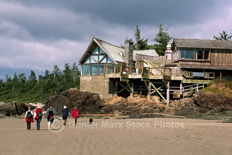 People walking on the Beach at the Wickaninnish Interpretive Centre, in Pacific Rim National Park Reserve, on the West Coast of Vancouver Island, British Columbia, Canada, in Summer