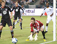 DC United goalie Troy Perkins (23) goes down to catch a shot on goal during the first half of the game between LA Galaxy and the D.C. United at the Home Depot Center in Carson, CA, on September 18, 2010. LA Galaxy 2, D.C. United 1.