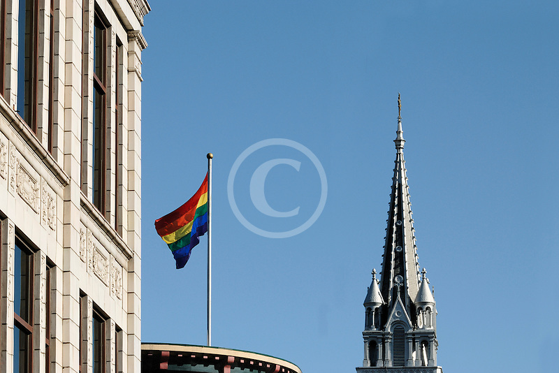 Canada, Montreal, The Village, Rainbow Flag and Église Sainte Brigide