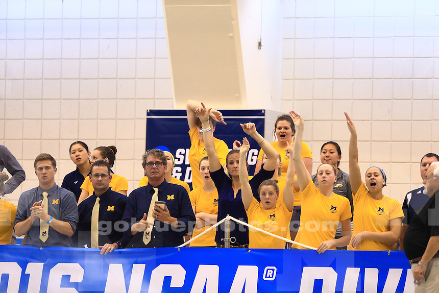 The University of Michigan women's swim and dive team compete on the second day of the 2016 NCAA National Championships at Georgia Tech University in Atlanta on March 17, 2016.