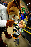 30 December 2007: The University of Vermont Catamounts mascot Rally Cat entertains a young fan at Gutterson Fieldhouse in Burlington, Vermont. The Quinnipiac University Bobcats defeated the Catamounts 4-1 to win the Sheraton/TD Banknorth Catamount Cup Tournament...Mandatory Photo Credit: Ed Wolfstein Photo