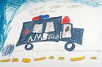 child's rudimentary drawing of ambulance on street with words: weeo! weeo! weeo! aaa! aaa! aaa! (siren)
