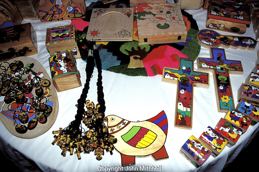 Painted wooden handicrafts from El Salvador, Central America