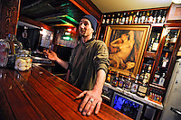 Ian Stewart/Yukon News<br /> Jordan Theriault, co-owner of the Sourdough Cafe in Keno City, worked with his cousin Jim Milley to restore the cafe/bar to gold rush era splendour.
