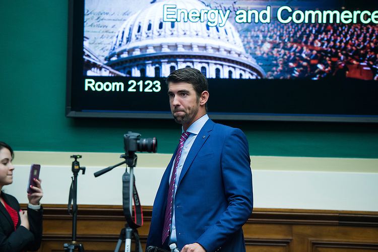 UNITED STATES - FEBRUARY 28: Olympian Michael Phelps arrives to testify before a House Energy and Commerce Subcommittee on Oversight and Investigations hearing in Rayburn Building on ways to strengthen the international anti-doping system, February 28, 2017. (Photo By Tom Williams/CQ Roll Call)