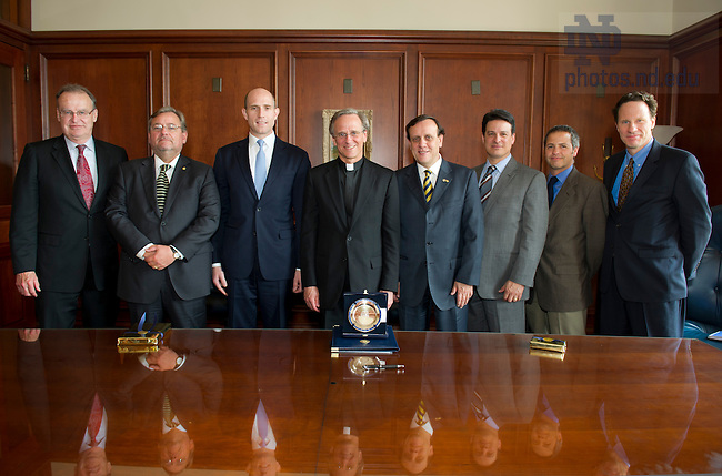 April 29, 2013; From left to right: Nick Entrikin, VP/Associate Provost for Internationalization, ND, Patricio Donoso, Vice Chancellor for Economics and Management, Pontifícia Universidad Católica de Chile, Peter Morse, representative of Andrónico Luksic Craig,  Rev. John Jenkins, C.S..C., Ignacio Sánchez Díaz, Rector, PUC-Chile, Paolo Carozza, Director, Kellogg Institute; Director, Center for Civil and Human Rights; Professor of Law, Juan Esteban Montes, Director, ND-Chile Program and Steve Reifenberg, Executive Director, Kellogg Institute.  Photo by Barbara Johnston/University of Notre Dame