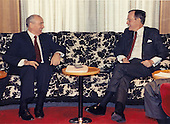 United States President George H.W. Bush, right, and General Secretary of the Communist Party of the Soviet Union (CPSU) Mikhail Gorbachev, left, meet aboard the Maksim Gorkiy at Malta during an international summit on December 2, 1989.<br /> Mandatory Credit: David Valdez / White House via CNP