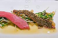 Vienna, Austria. The &quot;Steirereck&quot; with award winning Chef Heinz Reitbauer Junior is probably Vienna's best restaurant.<br /> Schneebergland Ente mit gebratenem Sprossensalat, schwarzem Rettich &amp; Erdnuss (&sbquo;Schneebergland&rsquo; Duck with Saut&eacute;d Sprouts, Black Radish and Peanut.)