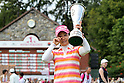 Ai Miyazato (JPN),JULY 24, 2011 - Golf :Ai Miyazato of Japan wipes away her tears as she celebrates with the trophy after winning the Evian Masters at the Evian Masters Golf Club in Evian-les-Bains, France. (Photo by Yasuhiro JJ Tanabe/AFLO)