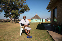 Nozolile Mtirara, 92, wife of Nelson Mandela's childhood best friend, Justice Mtirara, pictured near Mandela's teenage house, in Mqhekezweni, South Africa. Mandela lived here from age 9 until 18.
