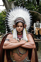 Italy. Province of Veneto. Castelnuovo del Garda. Micaela Ruef as an americanindian chief. Gardaland is the biggest amusement park in Italy and one of the largest in the whole of Europe.  MODEL RELEASED. © 2006 Didier Ruef