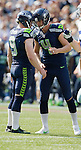 Seattle Seahawks'  kicker Steve Hauschka, right,  is congratulated  by holder Jon Ryan after kicking a 21-yard field goal  against the Dallas Cowboys at CenturyLink Field in Seattle, Washington on September 16, 2012.  Hauschka also kicked a 25-yarder as the Seahawks beat the Cowboys 27-7.    ©2012. Jim Bryant Photo. ALL RIGHS RESERVED.