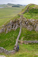 Northumberland,  England, UK.  Looking Down on Stile where Pennine Way Path leaves Hadrian's Path, to head North.