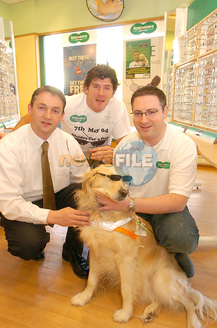 """Irish International Rugby Player Shane Horgan with Guide Dog Bruce helping to launch the Irish Guide Dogs for the Blind """"Shades for a Day"""" on May 7th in Specsavers in Drogheda town Centre, With David McCloskey and Keril Hickey from Specsavers..Photo AFP/NEWSFILE/FRAN CAFFREY..(Photo credit should read FRAN CAFFREY/NEWSFILE/AFP)...This Picture has been sent you under the condtions enclosed by:.Newsfile Ltd..the Studio,.Millmount Abbey,.Drogheda,.Co Meath..Ireland..Tel: +353(0)41-9871240.Fax: +353(0)41-9871260.GSM: +353(0)86-2500958.email: pictures@newsfile.ie.www.newsfile.ie.FTP: 193.120.102.198..This picture is from Fran Caffrey@newsfile.ie"""