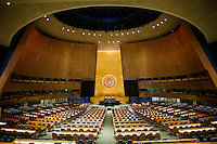 NEW YORK, USA - SEPT 14, View of the General Assembly Hall at the United Nations Headquarters during preparations for the 71st General Assembly in New York on September 14, 2016. photo by VIEWpress