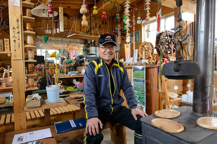 Amateur historian Shinichi Takahashi in his small woodcraft shop. Ginzan Onsen, Yamagata Prefecture, Japan, April 13, 2016. Once a sliver-mining town, Ginzan Onsen in Yamagata Prefecture is now one of Japan's best-known and most picturesque hot spring resorts. Its Taisho-period architecture and retro atmosphere is said to have been an inspiration for Hayao Miyazaki's Oscar-winning animated film, Spirited Away.