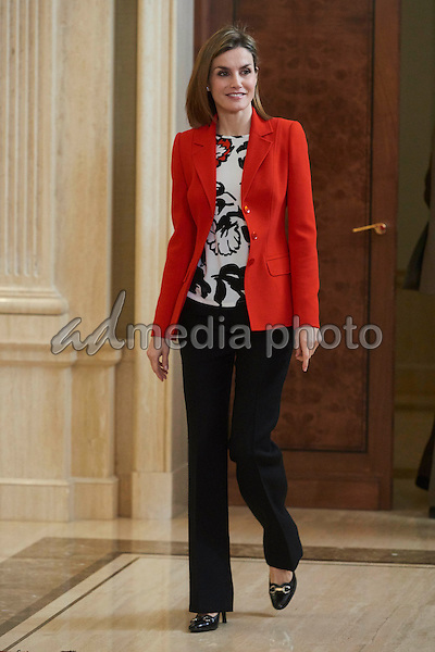 26 January 2016 - Madrid, Spain - Queen Letizia during an audience with members of Association for Specific language Disorder (Atelma) and the board of the Spanish Nutrition foundation scientific committe (FEN) at Zarzuela palace in Madrid. Photo Credit: PPE/face to face/AdMedia
