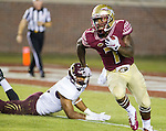 Florida State running back Mario Pender heads upfield in the second half of an NCAA college football game against Texas State in Tallahassee, Fla., Saturday, Sept. 5, 2015.  Florida State defeated Texas State 59-16. (AP Photo/Mark Wallheiser)