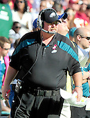 Philadelphia Eagles head coach Andy Reid watches the action in the third quarter against the Washington Redskins at FedEx Field in Landover, Maryland on Sunday, October 16, 2011.  The Eagles won the game 20 - 13..Credit: Ron Sachs / CNP