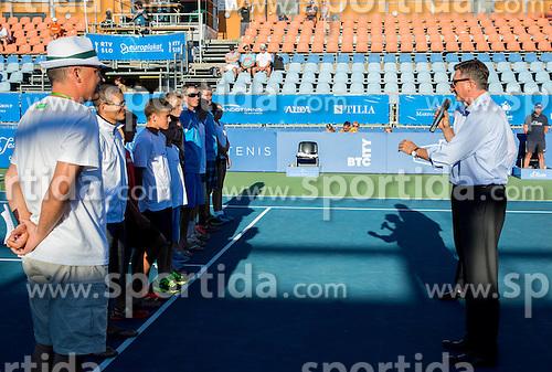 Borut Pahor, president of Slovenia with young Slovenian players during Day 5 of ATP Challenger Tilia Slovenia Open 2014 on July 11, 2014 in Tennis stadium SRC Marina, Portoroz / Portorose, Slovenia. Photo by Vid Ponikvar / Sportida