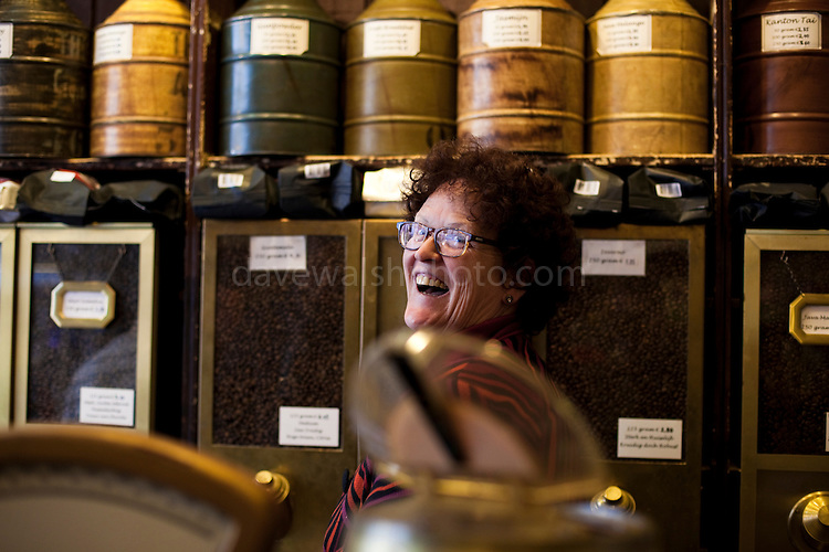 Marie Louise Velder, proprieter of 't Zonnetje Tea and Coffee shop, Haarlemmerdijk 45, Amsterdam. Situated in a 17th century shop, this is one of the most fantastic open secrets of Amsterdam