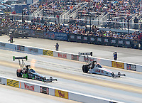 Sep 17, 2016; Concord, NC, USA; NHRA top fuel driver Clay Millican (left) alongside Richie Crampton during qualifying for the Carolina Nationals at zMax Dragway. Mandatory Credit: Mark J. Rebilas-USA TODAY Sports