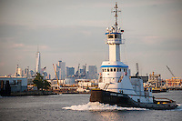 The Genesis Liberty tugboat, owned by the Genesis Marine Company, on the Kill Van Kull on Staten Island in New York on Thursday, June 30, 2016.   (© Richard B. Levine)
