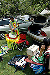 """Native Americans getting ready Thunderbird Pow Wow Grand Entry at the Queens County Farm Museum ....A pow-wow (also powwow or pow wow or pau wau) is a gathering of North America's Native people. The word derives from the Narragansett word powwaw, meaning """"spiritual leader""""."""