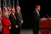 Chicago, IL - December 18, 2008 -- United States President-elect Barack Obama introduces Mary Schapiro (L), CEO of the Financial Industry Regulatory Authority (FINRA), as his choice to head the U.S. Securities and Exchange Commission (SEC), Gary Gensler (C), as head the Commodities Futures Trading Commission (CFTC), and Daniel Tarullo to the Federal Reserve Board of Governors during a press conference at the Drake Hotel December 18, 2008 in Chicago, Illinois. .Credit: Scott Olson - Pool via CNP