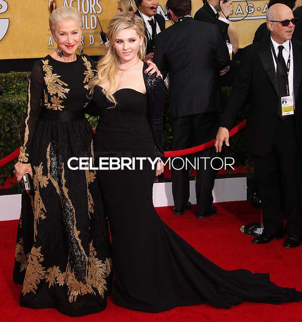 LOS ANGELES, CA - JANUARY 18: Helen Mirren, Abigail Breslin at the 20th Annual Screen Actors Guild Awards held at The Shrine Auditorium on January 18, 2014 in Los Angeles, California. (Photo by Xavier Collin/Celebrity Monitor)