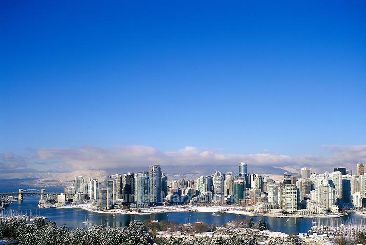Vancouver, BC, British Columbia, Canada - City Skyline, False Creek, High Rise Apartment / Condominium Buildings, Winter