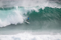 Margaret River, Western Australia (Wednesday, April 15, 2015) Bede Durbidge (AUS) wipeout. &ndash; The first day of the 2015 Drug Aware Margaret River Pro was called on today with surf in the solid 10'-12 plus surf at the main break at Margaret River and solid 6'-10' at the alternate spot of The Box. <br /> Round One heats 1 to 7 were held at The Box before the contest was put on hold for a short time and then shifted to the main Break.<br /> Photo: joliphotos.com