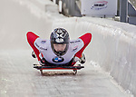 8 January 2016: Micaela Widmer, competing for Switzerland, crosses the finish line on her first run of the BMW IBSF World Cup Skeleton race at the Olympic Sports Track in Lake Placid, New York, USA. Mandatory Credit: Ed Wolfstein Photo *** RAW (NEF) Image File Available ***