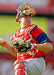 30 June 2007: Lowell Spinners catcher Ty Weeden warms up prior to a game against the Vermont Lake Monsters at Historic Centennial Field in Burlington, Vermont. The Spinners defeated the Lake Monsters 8-4 in the last game of their 3-game, NY Penn-League series...Mandatory Photo Credit: Ed Wolfstein Photo