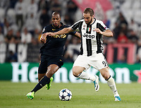 Football Soccer: UEFA Champions League semifinal second leg Juventus - Monaco, Juventus stadium, Turin, Italy,  May 9, 2017. <br /> Juventus' Gonzalo Higuain (r) in action with Monaco's Djibril Sidib&eacute; (l) during the Uefa Champions League football match between Juventus and Monaco at Juventus stadium, on May 9, 2017.<br /> UPDATE IMAGES PRESS/Isabella Bonotto