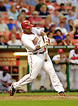 13 June 2006: Marlon Byrd, outfielder for the Washington Nationals, at bat against the Colorado Rockies at RFK Stadium, in Washington, DC. The Rockies defeated the Nationals 9-2 in the second game of the four-game series...Mandatory Photo Credit: Ed Wolfstein Photo..